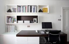 Convert a small space to a polished eye-catching and functional home office.