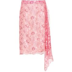 Calvin Klein 205W39NYC Metallic Lace Skirt (€1.505) ❤ liked on Polyvore featuring skirts, knee-length, pink, pink metallic skirt, pink lace skirt, lacy skirt, lace skirts and metallic skirt