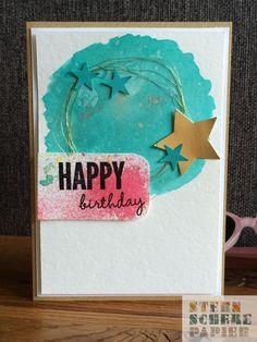 Aquarell-Geburtstagskarte, Bermudablau, mit Sternchen