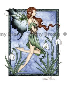 January Snow Drops 8.5x11 fairy PRINT by Amy Brown. via Etsy.