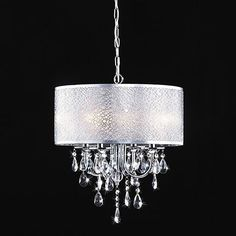 Midtown Round Chrome and White Drum Crystal Chandelier Drum Shade Chandelier, Chandelier Bedroom, White Chandelier, Ceiling Chandelier, Ceiling Lights, Bronze Chandelier, Modern Chandelier, Foyer Lighting, Bedroom Lighting
