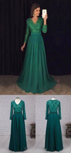 Green Prom Dresses, Long Prom Dresses With Sleeves, Lace Evening Dresses Chiffon, A-line Graduation Dresses V-neck #greendress