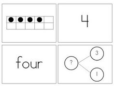 number representations - ten frame, standard form, word form and fact family