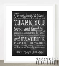 THANK YOU - Favor Table Sign - Customized with your names - Wedding - Favor Table Decor