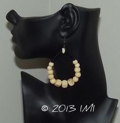 Wood and Black Bead earrings