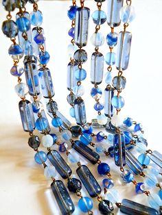 Glass Necklace Givre Blue 5 Multi Strand Chain by RenaissanceFair