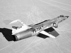 Lockheed F-104A Starfighter at Rogers Dry Lake. The small, thin wings of the aircraft are apparent.