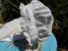 Antique+Victorian+White+French+Bonnet++Vintage+1800%26%2339%3Bs+Handmade+Waffle+Cotton+and+Lace+Hat+Trimmed+Victorian+Women+Bonnet+Night+Cap
