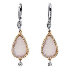 Druppel oorbellen met rose en wit goud, mooi! #MeiraT is te koop bij Rob Lanckohr, Atelier voor Juwelen. www.lanckohr.nl