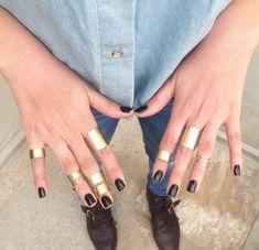 Galisfly Gold Stack Ring Box - knuckle oro anelli anelli oro tubo e anelli oro midi