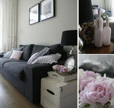 Roze accenten in de huiskamer. De kussens op de bank zijn allen zelfgemaakt.  Pink details in the livingroom. I made the pillows myself.
