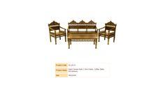 Hand Carved Sofa, 2 Arm Chairs, Coffee Table, W/Cushions