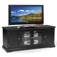 awesome Leick Black Hardwood TV Stand, 60-Inch - For Sale Check more at http://shipperscentral.com/wp/product/leick-black-hardwood-tv-stand-60-inch-for-sale/