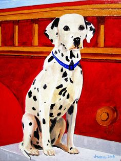 Sparky The Dalmatian A Breed Commonly Tied With Firefighters As Their Mascot DalmatiansPet PortraitsFirefightersFiremenFire Fighters