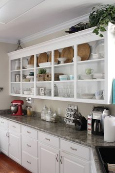 white, wicker.  Open cabinets (not really practical, but pretty)