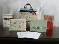 Fancy Flowers Card Stock Purse with Matching Stationary Gift Set.  One of my latest creations :)