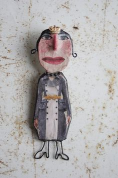Catherine by Julie Arkell petite flatsy-style papier mache dollie, one of a kind and made with papers, metals and found objects, can be worn as a pin