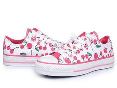 f7e23d1784f White All Star Low Top With Pink Cherries Canvas Shoes