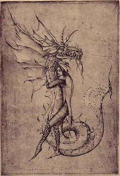 Abraxas Dragon | Etching by Marina Korenfeld