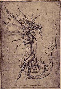 Abraxas Dragon | Etching by Marina Korenfeld
