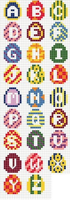 Buzy Bobbins: Big Easter Egg Alphabet Cross stitch design
