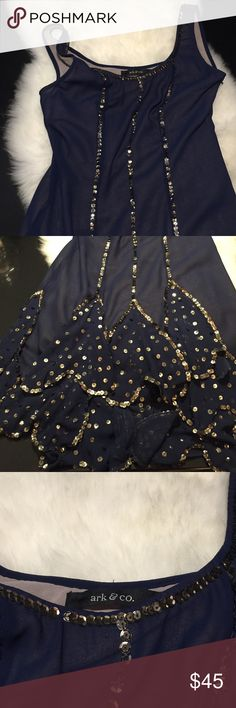 Ark&co dress with sequins This 1920s flapper inspired dress is darling. Navy blue with gold sequins. Ark & Co Dresses Mini