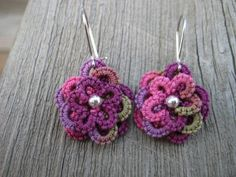 Purple Pink and Green Mini Tatted Flower Earrings by hannahjean, $5.25