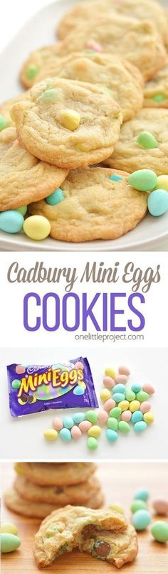 These Cadbury Mini Egg Cookies are SO GOOD. They have a soft and buttery texture… These Cadbury Mini Egg Cookies are SO GOOD. They have a soft and buttery texture and the mini eggs make them taste sooooo good! Desserts Nutella, Köstliche Desserts, Holiday Desserts, Holiday Baking, Holiday Recipes, Dessert Recipes, Salad Recipes, Food Deserts, Holiday Foods