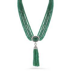 Ivanka Trump multi strand 18k white gold tassel necklace with emeralds and diamonds