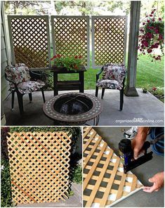 10 DIY Patio Privacy Screen Projects Free Plan-DIY Easy lattice Patio Privacy Screen 10 DIY Patio Privacy Screen Projects Free Plan from wood lattice privacy screen, to recycled door, fabric screen and living wall Privacy Screen Outdoor, Backyard Privacy, Pergola Patio, Backyard Patio, Privacy Screens, Garden Privacy, Pergola Ideas, Landscaping Ideas, Backyard Landscaping