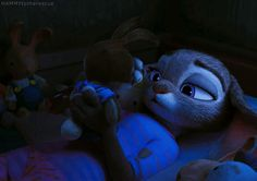 """hammytotherescue: """"Homesick Hopps Alternate Scene """" Am I the only one who looks at these gifs and automatically my brain sees that stuff bunny cop as a baby bun and Nick is behind her cuddling her the..."""