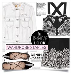"""""""Wardrobe Staple: Denim Jackets"""" by dolly-valkyrie ❤ liked on Polyvore featuring MANGO, Exclusive for Intermix, Kate Spade, denimjackets and WardrobeStaples"""