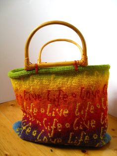 Life life - love life tapestry crochet handbag by Irene  Lundgaard {pattern available}