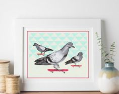 Skateboarding pigeons print by Amelie Legault, available on Etsy!  #pigeon #skateboard #planchearoulette #amelielegault #drawing #dessin #etsy #print #affiche  all rights reserved