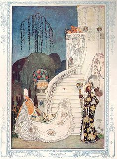 'Cinderella' by Kay Nielsen for The Illustrated London News, Christmas Edition Kay Nielsen, Art Nouveau, Art Deco, 7 Arts, Fairytale Art, Children's Book Illustration, Botanical Illustration, Storyboard Illustrations, Girl Illustrations