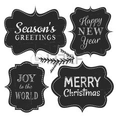 Chalkboard style vintage labels for Christmas and New Year isolated on white background  Stock Vector