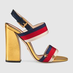 Gucci Grosgrain Web Sandal In Metallic Gold Leather Wrap Shoes, Ankle Wrap Sandals, Leather Sandals, Heeled Sandals, Shoes Sandals, Tie Shoes, Gold Sandals, Strap Sandals, Golf Shoes
