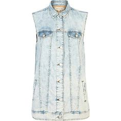 River Island: Longline sleeveless bleached denim shirt