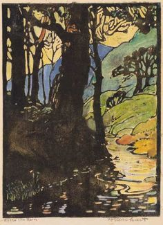 Frances Hammel Gearhart (1869-1958) - After the Rain. Woodblock Print. Circa 1919. 22.4cm x 16.5cm.