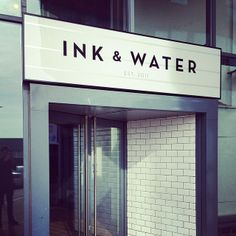 Exterior illuminated sign case for Ink & Water, Sheffield UK, Manufactured…