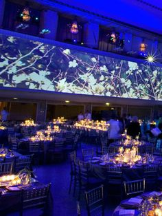 Allover Lighting    -   Revolutionize your venue with creative lighting. Project falling leaves or snow to add drama to a boring, beige wall; add a funky geometric pattern or your monogram to the dance floor; or get basic up-lighting for the perimeter of the room to instantly transform the space. Your guests won't be able to stop staring (in a good way!).