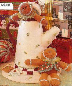 Linda Jarra Navideña Con Galletas de la WEB Gingerbread, Tea Pots, Christmas, Painting, Sewing, Mini, Ideas, Molde, Christmas Things