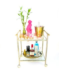 Vintage Hollywood Regency Faux Bamboo Bar Cart by ElectricMarigold on Etsy