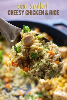 This cheesy chicken and rice is cooked on the stove for a quick one dish dinner. I toss in carrots and broccoli and a little cheddar to make this recipe family-friendly, healthy, and kid-approved!