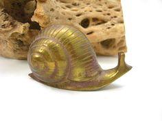Brass Garden Snail Figure Vintage Rustic by AtticDustAntiques