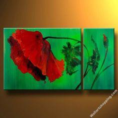 Poppy On Emerald Field I-Modern Canvas Art Wall Decor-Floral Oil Painting Wall Art