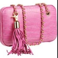 BCBG Max Azria Pink Croc Printed Chain Crossbody Great condition, only used a few times. Can be worn as a shoulder bag or crossbody. Does not come with tassel shown in first picture BCBGMaxAzria Bags Crossbody Bags