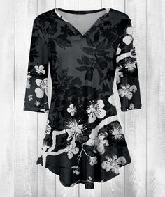 Take a look at this Gray & White Floral Three-Quarter Sleeve Tunic - Plus Too today!
