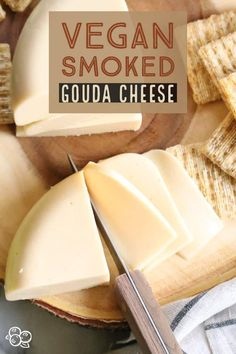 Make your own fantastic #Vegan Smoked #Gouda #cheese with just a few ingredients and your blender!! Yes, it slices, grates and melts! #easyvegancheese #veganblockcheese #vegangouda...