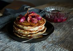 Buttermilk pancakes, candied riberries & prosciutto chips